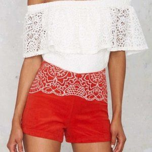 MinkPink Red Wild Hearts Embroidered Shorts XS